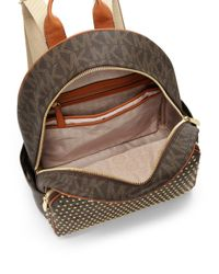 MICHAEL Michael Kors - Brown Large Studded Logo-Print Backpack - Lyst