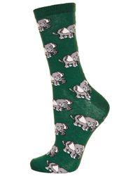TOPSHOP | Green All Over Little Elephant Socks | Lyst