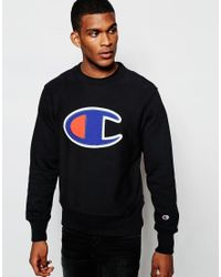 Champion - Black Sweatshirt With Big C Logo for Men - Lyst