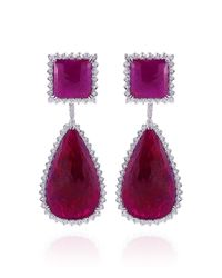 Dana Rebecca | Red Ruby and Diamond Earrings in White Gold | Lyst