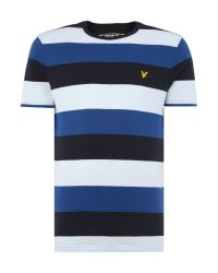 Lyle & Scott | Blue Block Stripe Crew Neck T-shirt for Men | Lyst