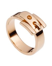 Michael Kors - Pink Rose Gold Tone Buckle Ring - Lyst