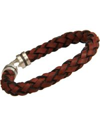 Zadeh - Brown Sterling Silver & Braided Leather Bracelet for Men - Lyst