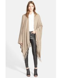 Autumn Cashmere | Natural Fringe Trim Cape | Lyst