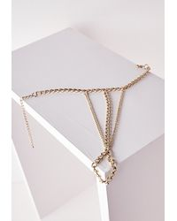 Missguided | Metallic Triple Hand Chain Gold | Lyst