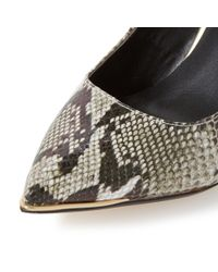 Dune | Gray Azaleah Metal Toe Detail Court Shoes | Lyst