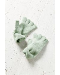 Urban Outfitters | Green Brushed Fuzzy Fingerless Gloves | Lyst
