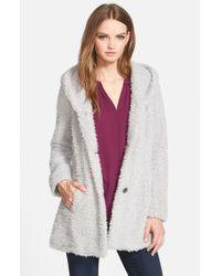 Jessica Simpson - Metallic Hooded Faux Fur Coat - Lyst