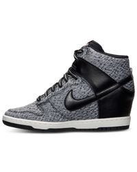 Nike - Black Women'S Dunk Sky Hi Textile Casual Sneakers From Finish Line - Lyst