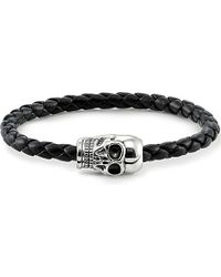 Thomas Sabo | Black Unity Plaited Leather Skull Head Bracelet for Men | Lyst