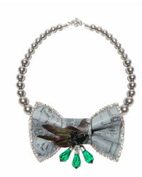 Bijoux De Famille | Blue Mr. Pigeon Bow Necklace | Lyst
