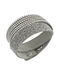 Swarovski | Gray Slake Mixed-media Crystal Wrap Bracelet | Lyst