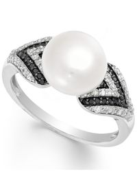 Macy's | White Diamond (1/3 Ct. T.w.) And Cultured Freshwater Pearl (9mm) Ring In Sterling Silver | Lyst