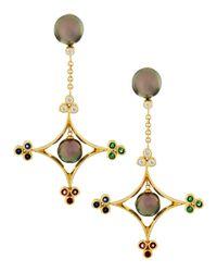 Assael | Metallic 18k Pearl Diamond Ruby Sapphire Emerald Earrings | Lyst