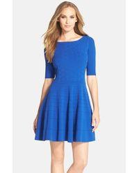 Eliza J - Blue Fit & Flare Sweater Dress - Lyst