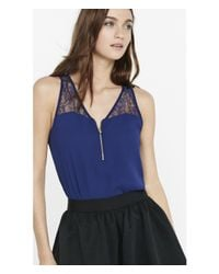 Express | Blue Lace Yoke Zip Front Tank | Lyst