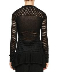 Proenza Schouler - Black Long-sleeve Open-stitch Sweater - Lyst