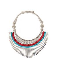 Pixie Market - Metallic Silver And Turquoise Necklace - Lyst
