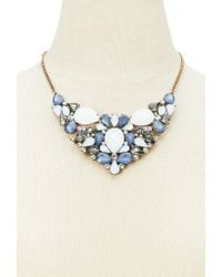 Forever 21 | Blue Faux Gem Iridescent Statement Necklace | Lyst