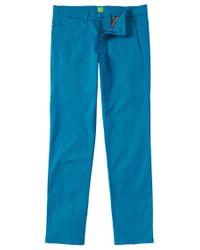 BOSS Green - Blue 'leeman-w' | Slim Fit, Stretch Cotton Pants for Men - Lyst