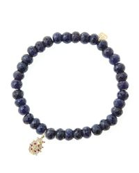 Sydney Evan - Blue 6Mm Faceted Sapphire Beaded Bracelet With 14K Gold/Diamond Medium Ladybug Charm (Made To Order) - Lyst