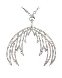 "Bavna | Metallic Sterling Silver Champagne Rose Cut Diamond Double Feather Wing 18"" Necklace 