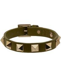Valentino | Green Slim Olive Rockstud Bracelet for Men | Lyst