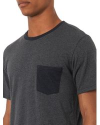Rag & Bone - Gray Colour-block Pocket T-shirt for Men - Lyst