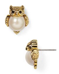 kate spade new york | Metallic Faux Pearl Owl Stud Earrings | Lyst