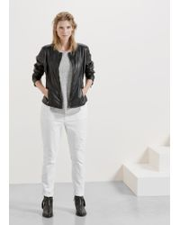 Violeta by Mango - Black Zip Leather Jacket - Lyst