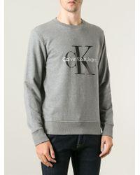 65f024f89203 Lyst - Calvin Klein Crew Neck Sweatshirt in Gray for Men