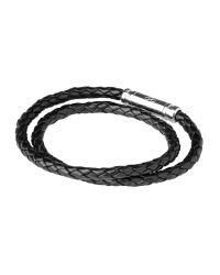 Links of London | Venture Black Leather Double Wrap Bracelet for Men | Lyst
