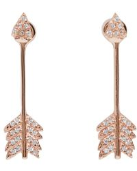Pamela Love | Pink Rose Gold Shooting Arrow Earrings | Lyst