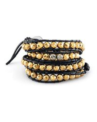 Anne Sisteron | Metallic Large Pyrite Bead Wrap Bracelet | Lyst