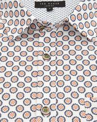 Ted Baker | Orange Geo Print Shirt for Men | Lyst
