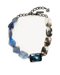 Oscar de la Renta - Black Faceted Quartz & Crystal Necklace - Lyst