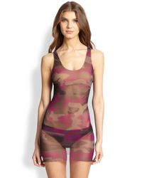 Jean Paul Gaultier - Pink Two-Piece Camouflage Tulle Tankini - Lyst