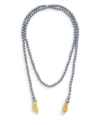 Kenneth Jay Lane | Gray Illuminating Beaded Ram Necklace | Lyst