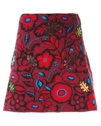 KENZO - Red 'shadow Flowers' Mini Skirt - Lyst