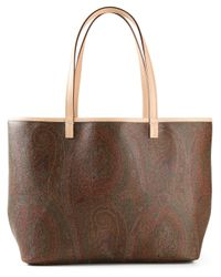 Etro | Brown Paisley-Print Calf-Leather Tote | Lyst