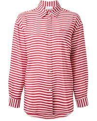 RED Valentino | Red Oversized Striped Shirt | Lyst