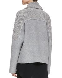 Vince - Gray Sherpa Double-breasted Boucle Wool Peacoat - Lyst