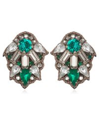 Suzanna Dai | Green Milano Button Earrings | Lyst