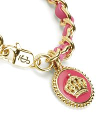 Juicy Couture | Pink Status Coin Leather & Chain Bracelet | Lyst