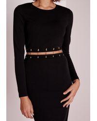 Missguided - Long Sleeve Metal Trim Midi Dress Black - Lyst