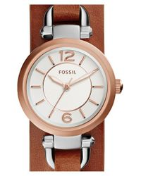 Fossil - Brown 'georgia' Round Leather Cuff Watch - Lyst