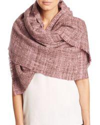 Bajra - Pink Handspun Herringbone Merino Wool Shawl - Lyst