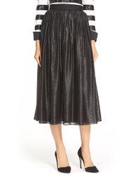 Alice + Olivia - Black 'rosemarie' Silk Blend Midi Skirt - Lyst