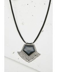 Forever 21 - Black Diamond Shaped Pendant Necklace - Lyst