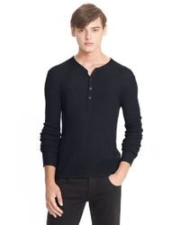 Rag & Bone | Blue Merino Wool Henley for Men | Lyst